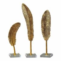 Uttermost Feathers Sculptures in Gold (Set of 3)