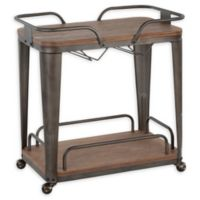 LumiSource Oregon Industrial Bar Cart in Espresso/Antique Metal