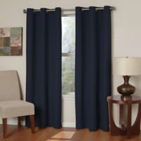 SolarShield® Mandalay Microfiber 95-Inch Grommet Room Darkening Window Curtain Panel in Navy