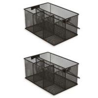 Mind Reader 4-Compartment Mutipurpose Mesh Utensil Caddy in Black (Set of 2)