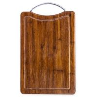 "Totally Bamboo 7.8"" x 13"" Cutting/Serving Board In Dark Brown with Chrome Handle"