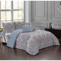 Avant Reversible 5-Piece King Comforter Set in Teal/Coral