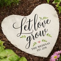 """Let Love Grow"" Large Heart Garden Stone"