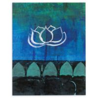 Lotus Blossom 14-Inch x 18-Inch Canvas Wall Art in Blue