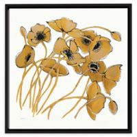 Gold Black Line Poppies II 14-Inch Square Framed Canvas Wall Art