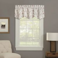 Meridan Floral Embroidered Rod Pocket Window Valance in Flax