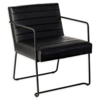 Southern Enterprises Kinston Faux Leather Accent Chair in Black