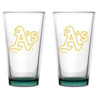 MLB Oakland Athletics Embossed Pint Glasses (Set of 2)