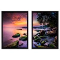 ArtWall Sunrise at Edgewater Beach 24-Inch x 36-Inch 2-Piece Multi-Panel Floating Frame Art