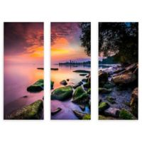 ArtWall Sunrise at Edgewater Beach 24-Inch x 36-Inch 3-Piece Multi-Panel Gallery Wrapped Art