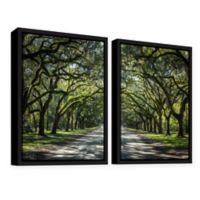 2-Piece Oak Trees in Spanish Moss 24-Inch x 36-Inch Framed Canvas Wall Art