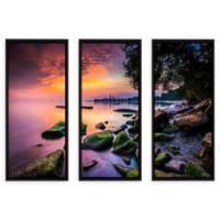Cleveland Ohio Sunrise at Edgewater Beach 24-Inch x 36-Inch 3-Piece Photographic Art