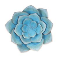 Zuo Modern Lotus 13.4-Inch Square Metal Wall Art in Blue