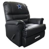 NFL Dallas Cowboys Embroidered Faux Leather Recliner in Black