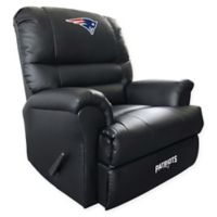 NFL New England Patriots Embroidered Faux Leather Recliner in Black