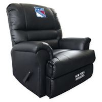 NHL New York Rangers Embroidered Faux Leather Recliner in Black
