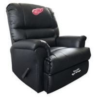NHL Detroit Red Wings Embroidered Faux Leather Recliner in Black