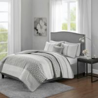 Madison Park Bennet King/California King Coverlet Set in Grey