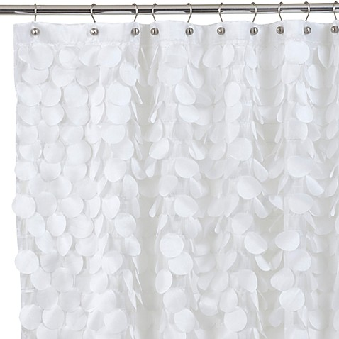 White Shower Curtain gigi fabric shower curtain in white - bed bath & beyond