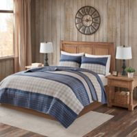 Woolrich Flagship Reversible 100% Cotton 3 Piece Quilt Set in Blue/grey