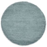 Unique Loom Solid Shag 6' Round Powerloomed Area Rug in Light Slate Blue