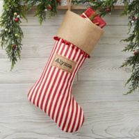 Stripe Cottage Christmas Personalized Christmas Stocking