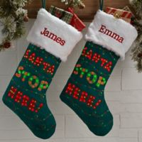 Santa Stop Here Personalized Light Up Christmas Stocking