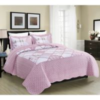 MHF Home Dharma Floral and Plaid Patchwork Twin Quilt Set in Pink