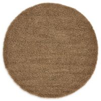 Unique Loom Solid Shag 6' Round Powerloomed Area Rug in Sandy Brown