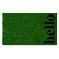 """Vertical Hello 24"""" x 36"""" Coir Door Mat in Green/Black"""
