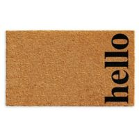 "Vertical Hello 24"" x 36"" Coir Door Mat in Natural/Black"