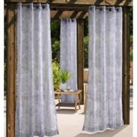 Havana Leaf 108-Inch Grommet Window Curtain Panel in Grey
