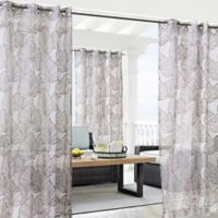 Havana Leaf 108-Inch Grommet Window Curtain Panel in Taupe
