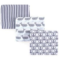Hudson Baby® Whales 3-Pack Muslin Swaddle Blanket Set in Blue