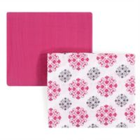 Yoga Sprout Medallion 2-Pack Muslin Swaddle Blanket Set in Pink