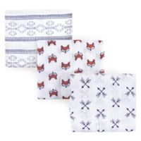 Yoga Sprout Fox 3-Pack Muslin Swaddle Blanket Set in White