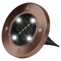 Bell + Howell Solar-Powered LED Disk Lights in Bronze (Set of 4)