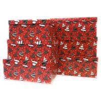 6-Piece Tree Jumbo Rectangular Gift Box Set in Red