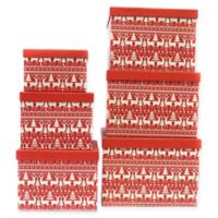 6-Piece Reindeer Jumbo Square Gift Box Set in Red