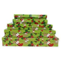 5-Piece Stocking and Holly Leaves Flat Gift Box Set in Green