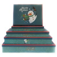 5-Piece Christmas Snowman Flat Gift Box Set in Blue