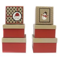 3-Piece Glitter Square Gift Box Set in Red