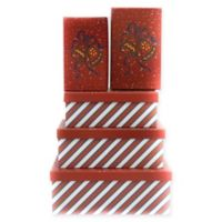 5-Piece Christmas Bells Rectangular Gift Box Set in Red
