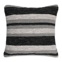 Liora Manne American Nautical Stripe Square Throw Pillow in Grey