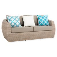 Safavieh Elora All-Weather Wicker 3-Seater Sofa in Light Grey