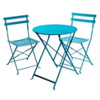 Cafe 3-Piece Folding Indoor/Outdoor Bistro Set in Capri Breeze