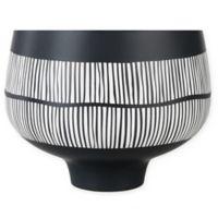 Portofino Patterned Ceramic Bowl on Pedestal in Black/White