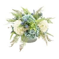 17-Inch Artificial Hydrangea Centerpiece with Crystal Bowl Vase