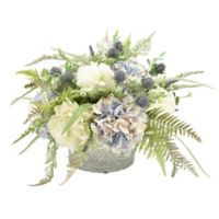 18-Inch Artificial Hydrangea and Fern with Crystal Bowl