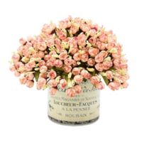 12-Inch Artificial Petite Pink Roses with Glass Vase